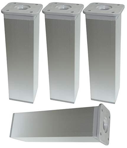 AERZETIX: 4x Patas pies ajustables regulables para muebles 40/40mm plata mate (Altura: 150mm)