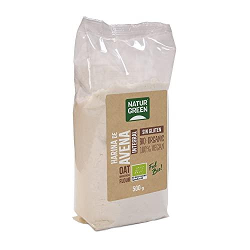 NaturGreen - Harina de Avena Integral, Granos de Avena Molidos, Ecológico, Condimento Bio, 100% Vegano - 500 g
