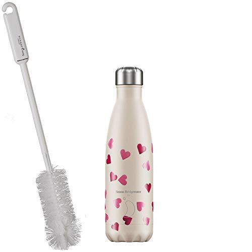 CHILLYs Trinkflasche & Isolierflasche Design Emma Bridgewater Dekor Pink Hearts - Edelstahl Thermos Wasserflasche - Flasche hält 24 Std. kalt & 12 Std. heiß + SCHARFsinnig Flaschenbürste