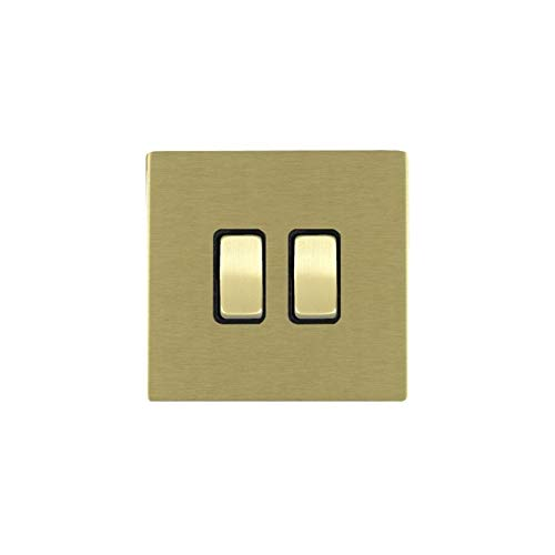 Hamilton LiteStat 82CR32SB-B - Interruptores basculantes (latón satinado), color negro