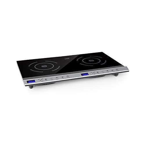 Klarstein Cucinata mobile Kochplatte, Doppel-Induktionskochfeld, 3100W, Touch Control, Topfsensor, Abschalttimer, 10 Stufen, Überhitzungsschutz, Kindersicherung, Glaskeramik, silber