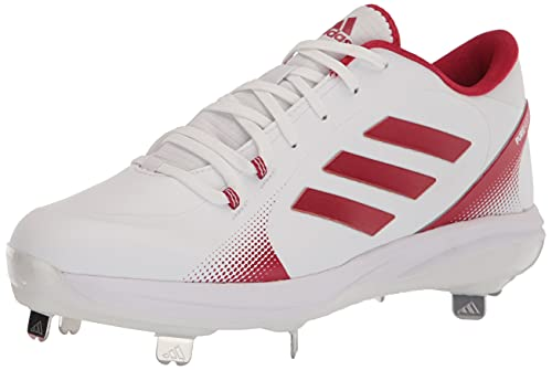 adidas Women's Purehustle 2 Baseball Shoe, White/Team Power Red/Solar Red, 10.5