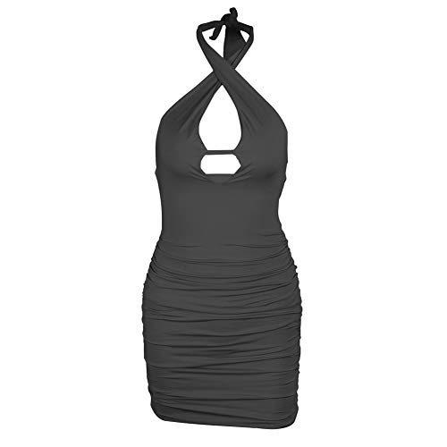 Sexy Kanten Ondergoed, Backless Hollow Out Sexy Jurkje Bodycon Ruches Halter Bandage Party Night Zomerjurkjes,Black,S