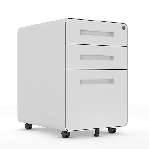 AOBABO 3 Drawer Steel Mobile File Cabinet with Lock, 15.75