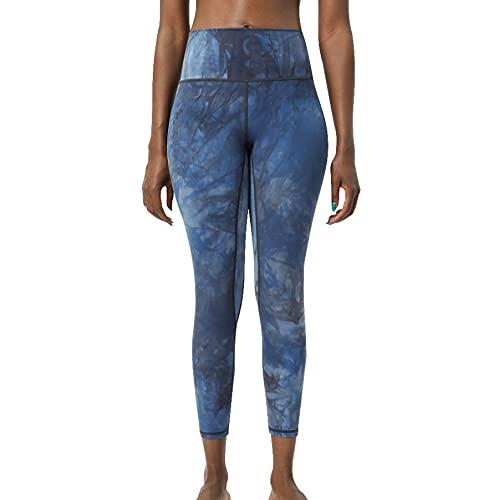 JNWBFC Traje De Yoga Nude Tie-Dye Pantalones Mujer Pantalones Cintura Alta Doble Cara Lijado Gimnasio Leggings Sujetador Medias De Fitness Entrenamiento Push