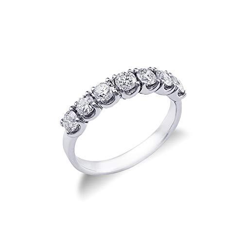 Gioielli di Valenza - Anello Veretta a 7 pietre in Oro bianco 18k con diamanti ct. 0,90 - FE701090BB - 10