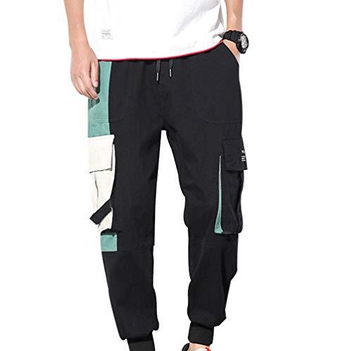 Feidaeu Herren Lounge Hosen Streetwear Overalls Lose atmungsaktive und langlebige Multi-Pocket Dekoration Urban Casual Cropped Pants