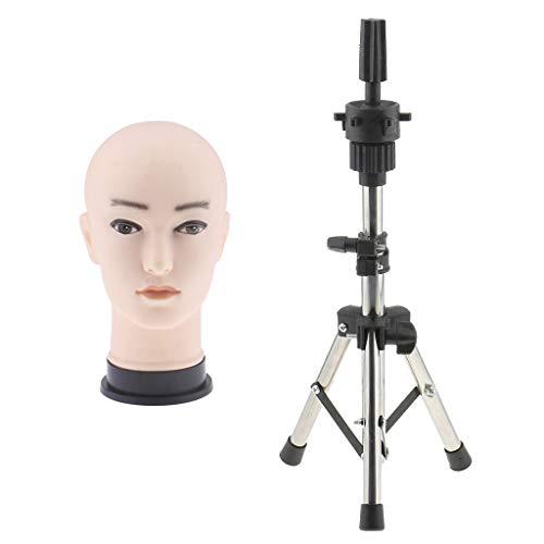Homyl Set de Têtes d'Exercice Maquillage Silicone Homme Mannequin Modèle pour Formation Maquillage, Extension de Cils +Trépied Stand en Acier Inox