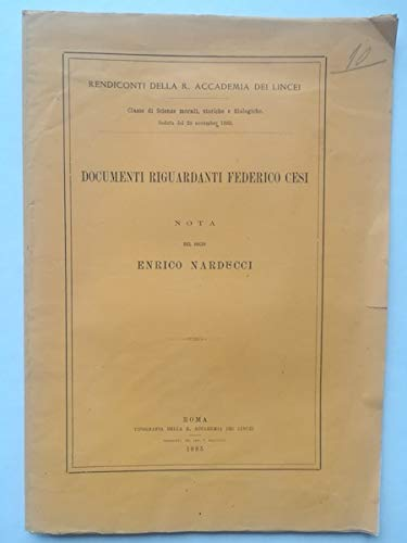 Documenti riguardanti Federico Cesi. Nota