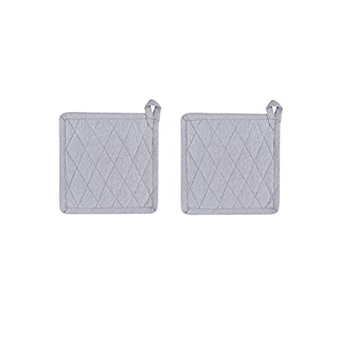 Set Of 2 Potholders, Chambray Grey, 100% Cotton, 8 x 8, Heat Resistant, Eco Friendly And Safe, Suitable For All Household Ovens