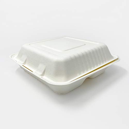 Zume Compostable, Eco Friendly, Disposable 9' x 9' 3 Compartment Clamshell Take Out Food Container, Natural (Pack of 100)