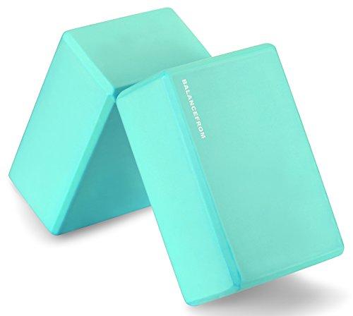 BalanceFrom GoYoga Set of 2 High Density Yoga Blocks, 9'x6'x4' Each [Newest Version]...