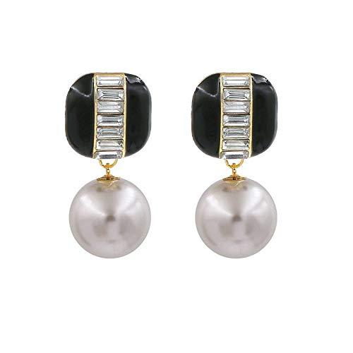 YANGYUAN La Perla Pendientes Simples del Poste del Metal, Ronda de imitación Pendientes de Perlas, Pendientes Regalo de la Manera de Las Mujeres