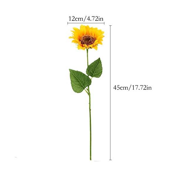 FagusHome Girasoles Artificiales – 6 racimos de Girasol 17.72″Ramo en Amarillo – Planta Artificial de Girasoles Falsos para la decoración del Banquete de Boda en casa (6)