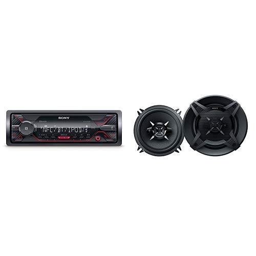Sony DSX-A410BT MP3 Autoradio (Dual Bluetooth, NFC, USB, AUX Anschluss, Beleuchtung, 4 x 55 Watt, Freisprechen) rot &  XSFB1330 13 cm 3-Wege Auto-Lautspecher mit 240 Watt Maximalleistung schwarz