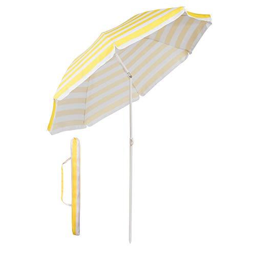 Sekey Sombrilla Ø 160 cm Parasol para terraza jardín Playa balcón Piscina pati, Protector Solar UV20+ (Rayas Amarillas Blancas)