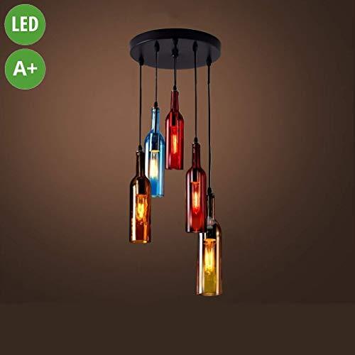 Leuchter, Glasflasche Kronleuchter, 5 Industrie-Deckenleuchter Farbe Rotwein-Flaschen-Kronleuchter Retro Esszimmer Wohnzimmer Lampe E27