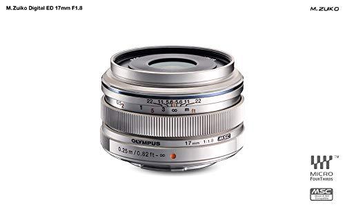 Olympus Objetivo M.Zuiko Digital 17mm F1.8, longitud focal fija rápida, apto para todas las cámaras MFT (modelos Olympus OM-D & PEN, serie G de Panasonic), plata