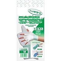 おたふく手袋 ディスポ手袋や作業手袋の下履き 5本指出しインナーピタハンド 1組(10双) (M)
