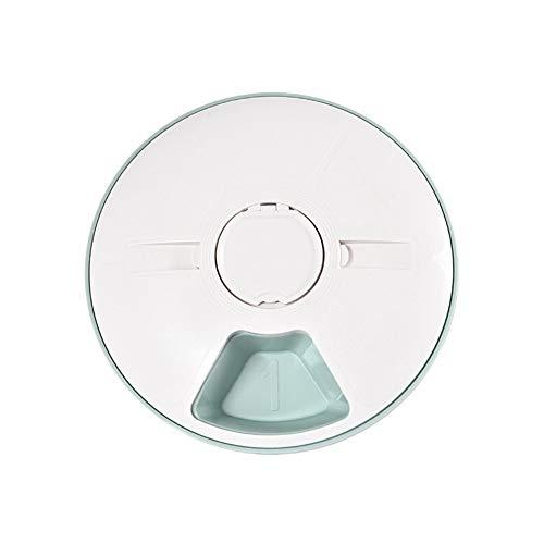 LJT Pet Bowl, intelligenter Sechs-Loch-Timing-Feeder, quantitativer Timer-Musik-Reminder, automatischer Pet Feeder,Green,31x31x6.5cm