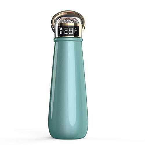 LKJJTG Botella de Agua Inteligente, Taza de Viaje Termo de 500 ml Pantalla de Temperatura LED Frasco de vacío Aislado Acero Inoxidable a Prueba de Fugas Caliente frío-Green