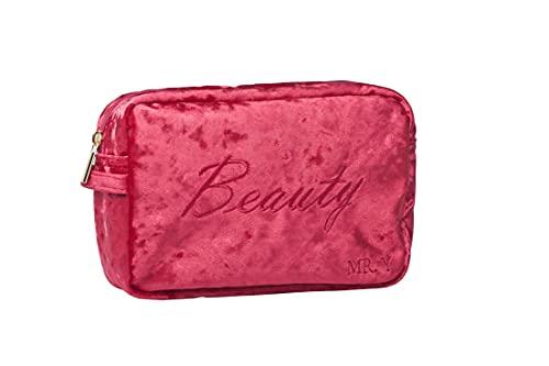 Mr. Y Kosmetiktasche   Kulturbeutel Wasserdicht   Make-Up Tasche Interieur mit leichtem Stoff aus Satin (Rot)
