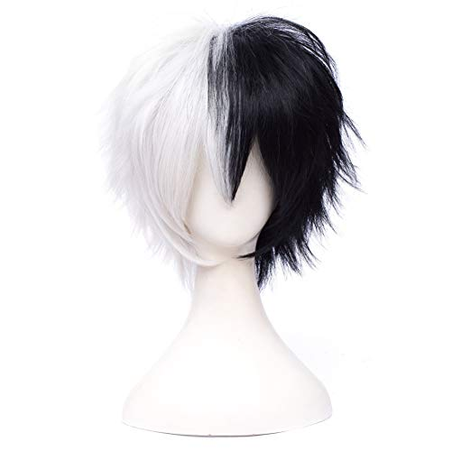 SL Anime Cosplay Black and White Wigs for Danganronpa Monokuma Straight Short Man's Handsome Spiky Wigs with Cap