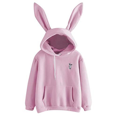 TOPKEAL Langarm Hase Hoodie Pullover Damen Herbst Winter Kapuzenpullover Sweatshirt Winterpullover Jacke Mantel Tops Mode 2020(Large,Rosa)