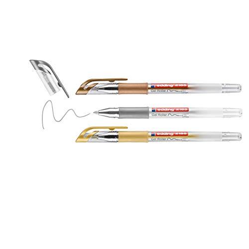 edding 2185 Gelroller - gold, silber, kupfer (metallic) - 3er-Set - 0,7 mm - Gelstifte zum Schreiben, Malen, Mandala, Bulletjournal - Gelschreiber, Gelmalstifte
