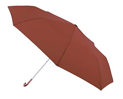 Paraguas básico de Vogue de Estilo clásico y Atemporal Que incorpora un Bonito Mango Curvo de Efecto esmaltado. Paraguas Plegable y antiviento. (Rojo Caldera)
