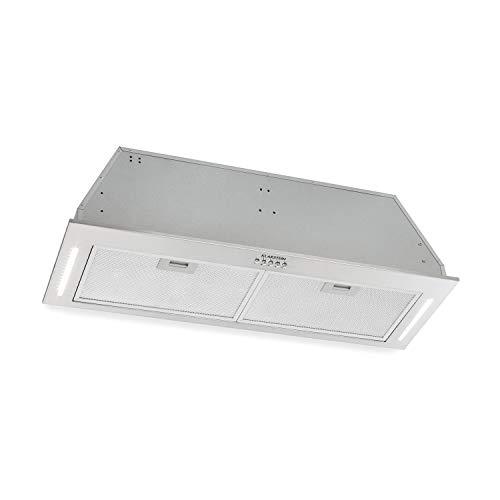Klarstein Down Under Dunstabzugshaube Ablufthaube (Einbau, 90 cm breit, 590 m³/h Abluft, 190 Watt, Motorleistung in 3 Stufen, LED, gebürsteter Edelstahl, 61 dB leise) silber