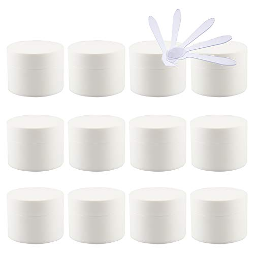 TIANZD Pack of 24,Empty 15mlForsted White Plastic Cosmetic Jars with Screw Lid Inner Liner, 15g Small Matte Containers for Homemade Cream Gel Lip Balm Salve Storage Pot + 5X Spatula