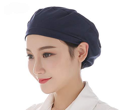 Women Men 2pcs Work Chef Hat for Home School Restaurant Kitchen Food Service Protective Cap (Navy(2PCS)