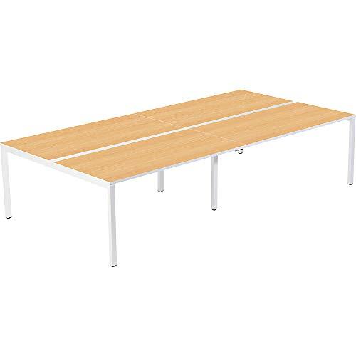 gaerner 4er-Teamschreibtisch mit 60 x 750 mm Kabelführung zwischen den Tischplatten | BxTxH = 1600/3200 x 600/1260 x 750 mm | weiß/Buche Bürotisch