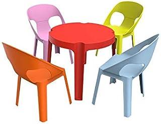 resol Rita set infantil para interior, exterior, jardín - 1 Mesa Roja + 4 Sillas Rosa/Naranja/Azul/Lima