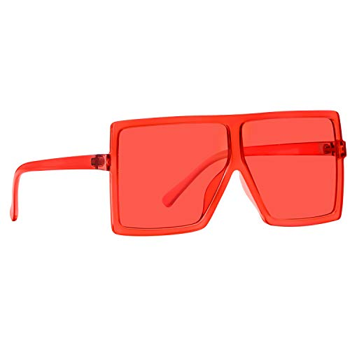 GRFISIA Square Oversized Sunglasses for Women Men Flat Top Fashion Shades (deep red frame- red lens, 2.56)