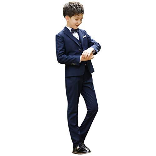 4 pièces Costume Enfant Garçon d'honneur Chemises Gentleman Tuxedo Suit Chemise+Blazer+Pantalons Longs+Nœud Papillon Ensemble pour Mariage Cérémonie Anniversaire Soirée Bal Bleu 11-12 Ans