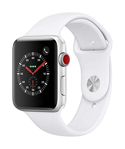 AppleWatch Series3 (GPS + Cellular) con cassa 42mm inalluminio color argento ecinturino Sport bianco