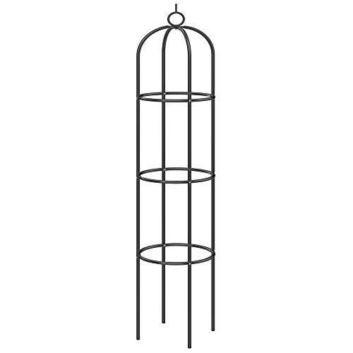 Deuba Rosensäule Rosenbogen Rankgitter Obelisk Rankhilfe 200 x 40cm pulverbeschichtetes Metall witterungsbeständig