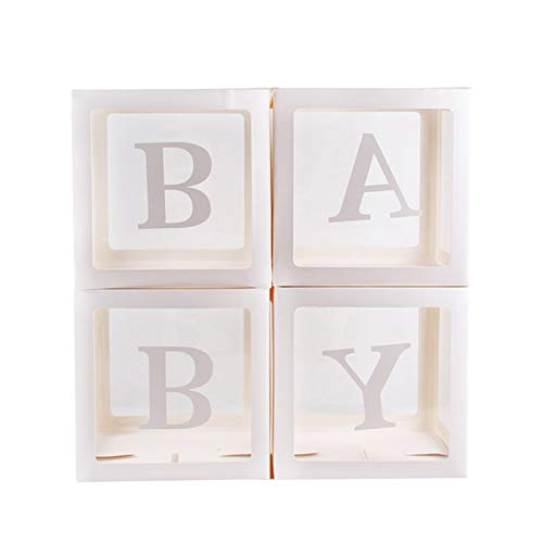 Yinyimei Balloon Stand Gold Box Transparent Name Age Box Girl Boy Baby Shower Decorations Baby 1st 1 One Birthday Party Decor Gift Supplies (Color : Baby Box)