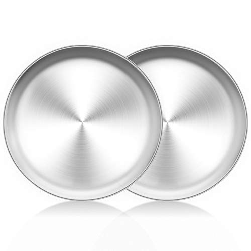 TeamFar Pizza Pan, 10 inch Pizza Pans Pizza Tray Stainless Steel for Oven Baking, Non Toxic & Healthy, Heavy Duty & Dishwasher Safe - Set of 2