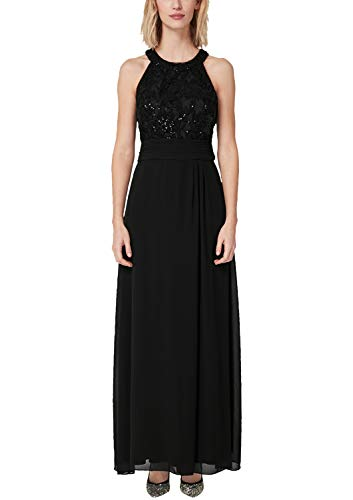 s.Oliver BLACK LABEL Damen Abendkleid aus Spitze und Chiffon Black Velvet 40