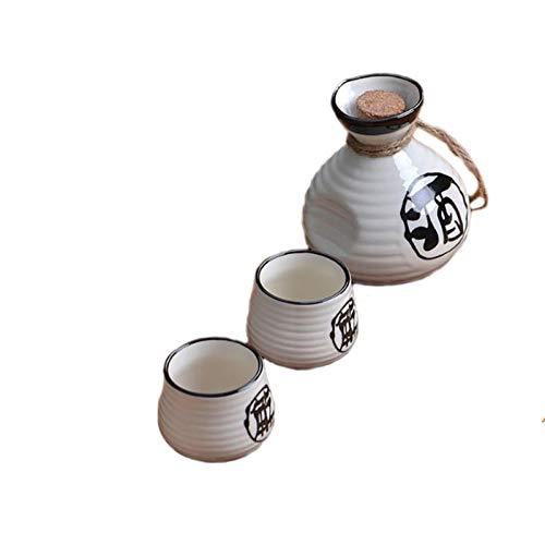 Utensilios de vino chino, utensilios de vino de cerámica, tazas de sake, tazas de cerámica, petacas, utensilios de vino doméstico, blanco (color: 4 copas de vino)