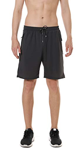 SHINEFUTURE Herren Shorts Sport Shorts Kurze Hose Atmungsaktive Jogging und Training Shorts Fitness Taschen mit Reißverschluss Tennisshorts Leisure Sport Style (Dunkelgrau, X-Large)