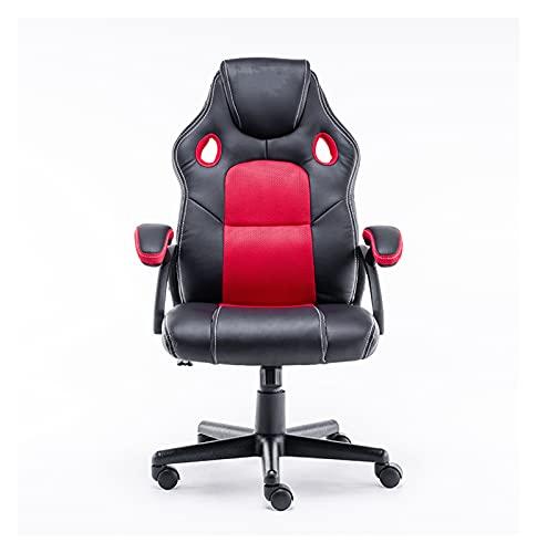 Silla giratoria y ergonómica del juego con sillón de oficina para jugadores Computadoras de escritorio adultos (Color : Red and black)