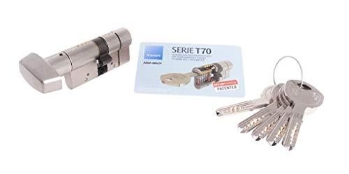 Tesa Assa Abloy Cilindro de Alta Seguridad, Botón - Leva Larga, Niquelado, 30X30 Mm