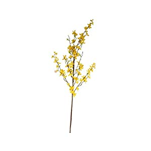 Artificial Flowers,Fake Plants Faux Plastic Fake Plants Wedding,1 Bouquet Artificial Flowers Exquisite Lifelike Faux Silk Floral Simulation Winter Jasmine Decoration for Home – Yellow