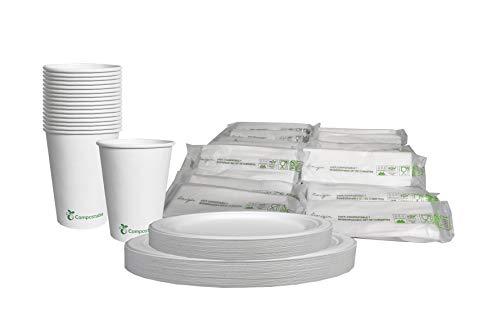 Ecorigin Vajilla desechable para 50 Personas. El Set Incluye Platos, Vasos, Cubiertos y servilletas. Todos los Productos Son...