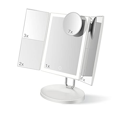 SDDS Tríptico Iluminado Espejo De Maquillaje Vanidad con Aumento 7X / 3X 2X 1X, 38 Luces LED Pantalla Táctil Regulable USB Iluminado Mesa, Viaje Cosmético