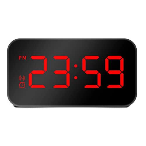 Notuarecaii WR LED Reloj Despertador con Control de Voz Digital Doble USB Powered Easy Snooze Ajuste de Brillo Batería de Respaldo Reloj de Despertador acústico de cabecera
